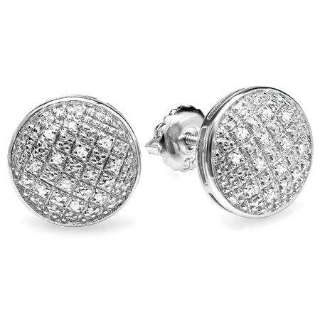 0.20 Carat (ctw) Platinum Plated Sterling Silver Round Diamond Concave Circle Shape Mens Ladies Unisex Hip Hop Iced Stud Earrings