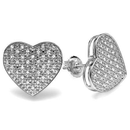 0.50 Carat (ctw) Platinum Plated Sterling Silver Round Diamond Heart Shape Mens Ladies Unisex Hip Hop Iced Stud Earrings