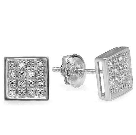 0.10 Carat (ctw) Platinum Plated Sterling Silver Real Diamond Square Men