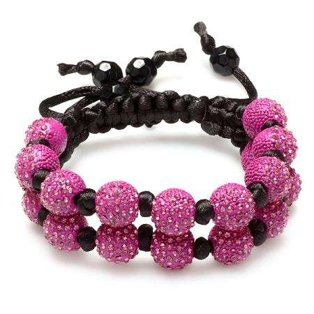Beaded Crystal Bracelet Pave Mens Ladies Unisex Hip Hop Style Seven Hot Pink Disco Ball 12mm Bead Two Row Unisex Adjustable