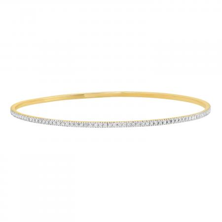 1.60 Carat (ctw) Round White Diamond Ladies Bangle Bracelet, 14K Yellow Gold
