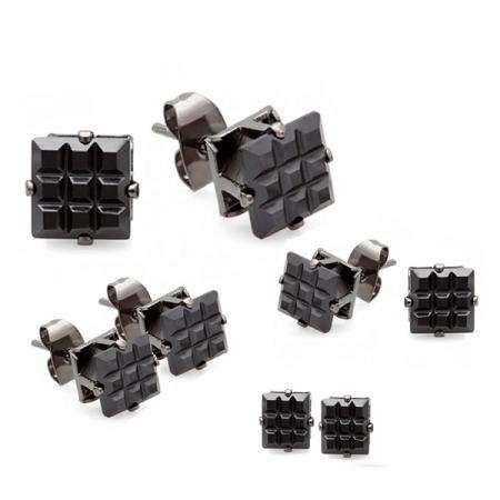 Black Stud Earrings Sets Invisible Clear CZ Cubic Zirconia 7MM 6MM 5MM & 4MM Blackout Mens Ladies Unisex Pushback Post