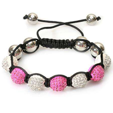 Beaded Crystal Bracelet Pave Mens Ladies Unisex Hip Hop Style 10 mm Seven White & Neon Pink Disco Ball Faceted Bead Unisex Adjustable