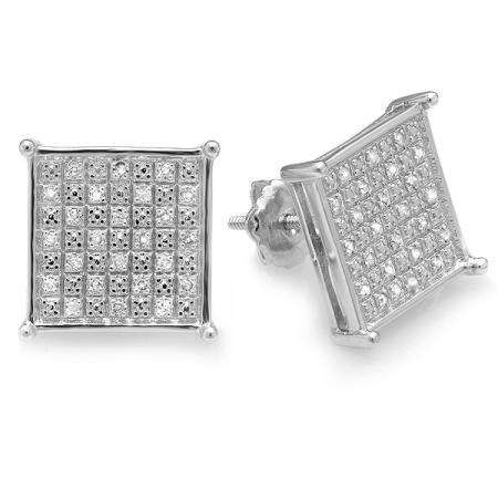 0.33 Carat (ctw) Platinum Plated Sterling Silver Real Diamond Square Shape Mens Ladies Hip Hop Iced 12 mm Stud Earrings 1/3 CT