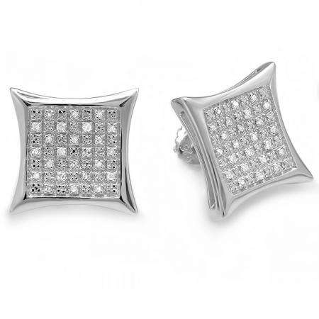 0.33 Carat (ctw) 10K White Gold Real Diamond Kite Shape Mens Ladies Hip Hop Iced 14 mm Stud Earrings 1/3 CT