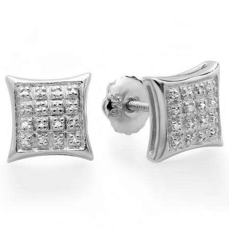0.15 Carat (ctw) 10K White Gold Real Diamond Dome Kite Shape Mens Ladies Hip Hop Iced 9 mm Stud Earrings