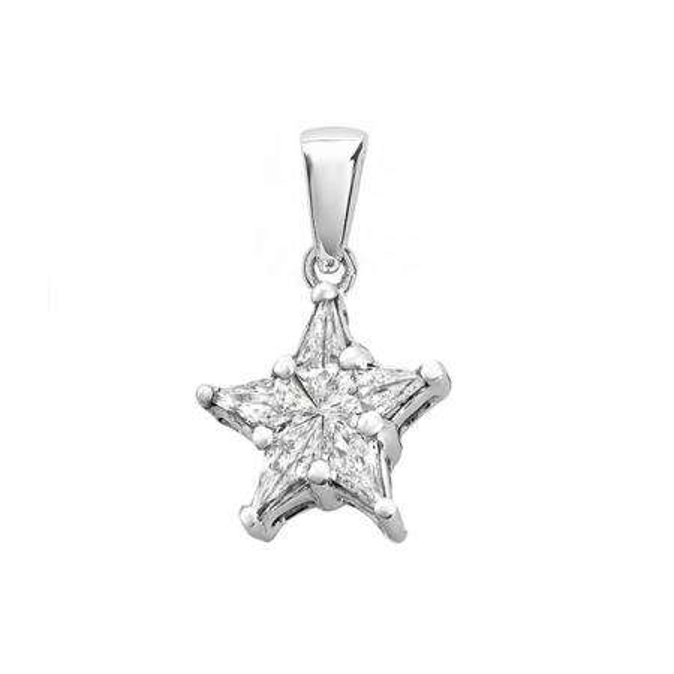 0.20 Carat (ctw) 18k White Gold Kite Noble Cut Star Shaped Cluster 5 Stone Diamond Ladies Pendant 1/5 CT