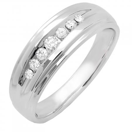 0.20 Carat (ctw) 14k White Gold Round Diamond Mens Wedding Anniversary Band Ring