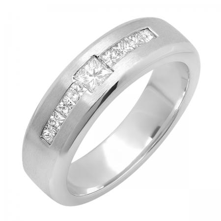 0.85 Carat (ctw) 14k White Gold Princess Diamond Mens Wedding Anniversary Band Ring