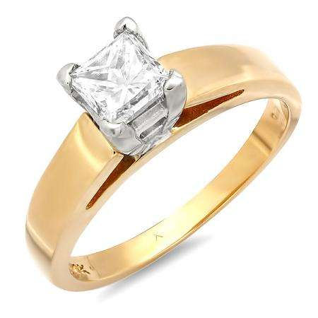 IGI Certified 0.97 Carat (ctw) 14k Yellow Gold Princess White Diamond Ladies Solitaire Engagement Ring