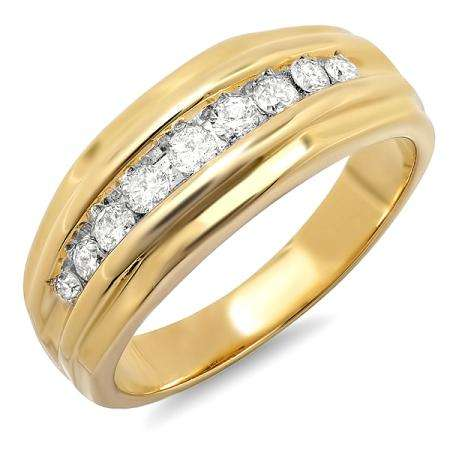 0.50 Carat (ctw) 14k Yellow Gold Brilliant Round Diamond Channel Mens Ring