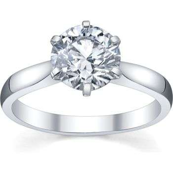 14K White Gold Ladies Solitaire Semi Mount Engagement Ring Can Hold a 2.00 CT Round Stone (No Center Stone)