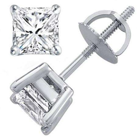 0.63 Carat (ctw) 14K Princess Gold Princess Cut White Diamond Ladies Stud Earrings