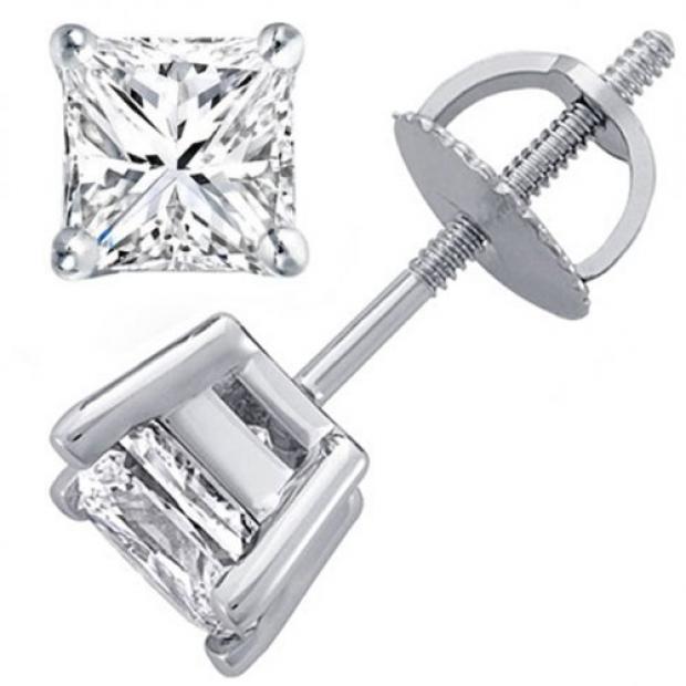 0.64 Carat (ctw) 14K White Gold Princess Cut White Diamond Ladies Stud Earrings