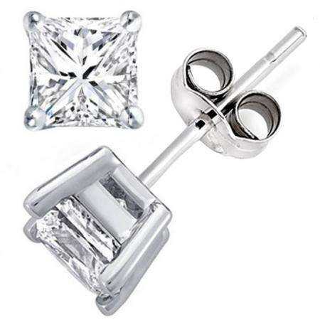 0.65 Carat (ctw) 14K Princess Gold Princess Cut White Diamond Ladies Stud Earrings