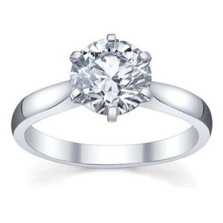 IGI Certified 2.02 Carat (ctw) 14K White Gold Brilliant Round Diamond Ladies Bridal Engagement Solitaire Ring 2 CT