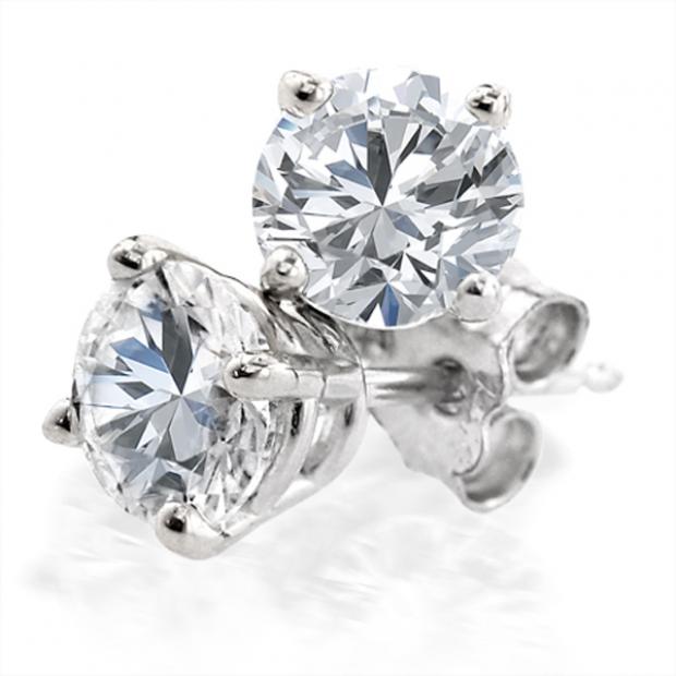 0.91 Carat (ctw) 14K White Gold Round Cut White Diamond Ladies Stud Earrings