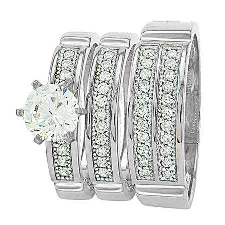 3/3rd of payment for Gold Trio Sets with 6 prong round White Diamond Men & Women