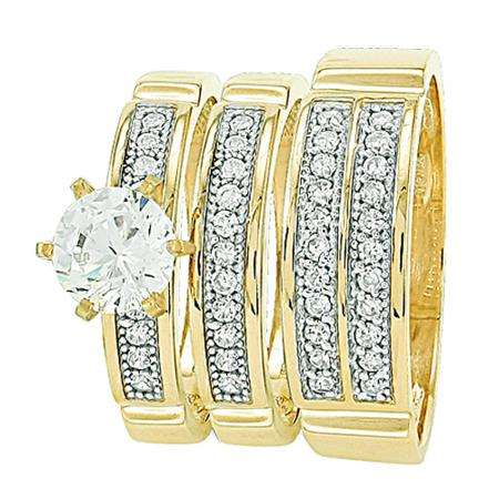 Gold Trio Sets with 6 prong round Cubic Zirconia Head Men & Women