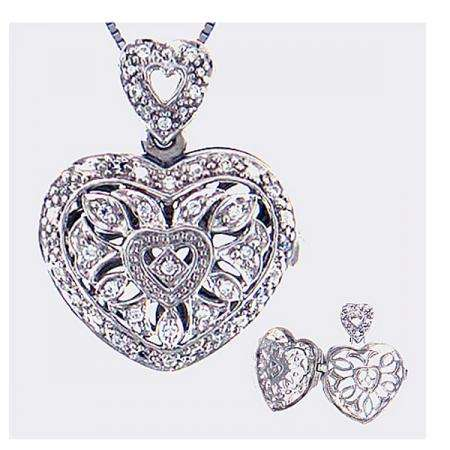 0.20 Carat (ctw) Sterling Silver Heart Diamond Locket Ladies Pendant