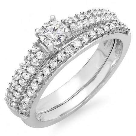 0.80 Carat (ctw) 14K White Gold Round Diamond Ladies Bridal Engagement Ring Set Matching Wedding Band