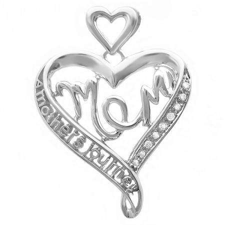 0.05 Carat (ctw) Sterling Silver White Diamond Ladies Heart Moms Gift Mothers Journey Pendant
