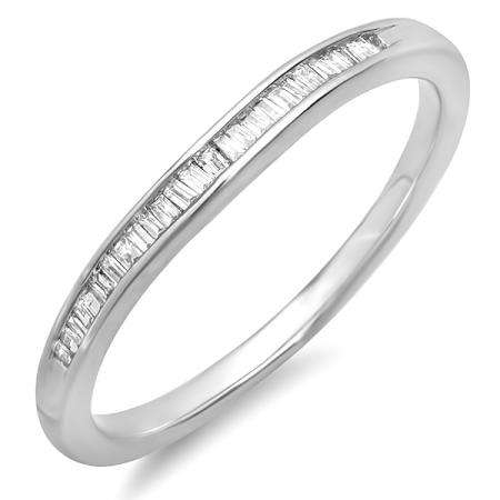 0.15 Carat (ctw) Sterling Silver Baguette Diamond Ladies Anniversary Band Wedding Ring