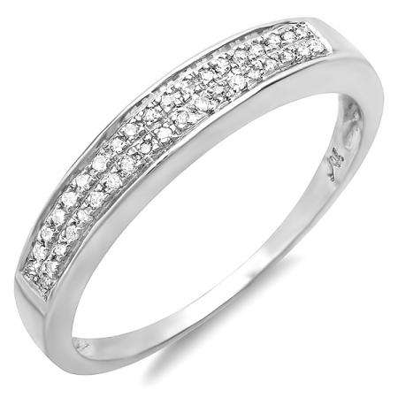 0.10 Carat (ctw) Sterling Silver Round Diamond 2 Row Micro Pave Ladies Anniversary Band Wedding Stackable Ring