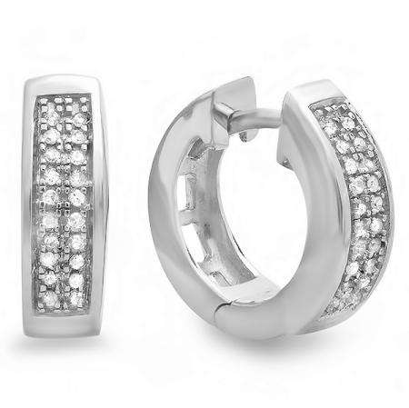 0.10 Carat (ctw) Sterling Silver Round Diamond Mens Ladies Unisex Huggie Hoop Earrings