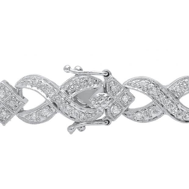 1.00 Carat (Ctw) 14K White Gold Round White Diamond Tennis Link Bracelet 1 CT