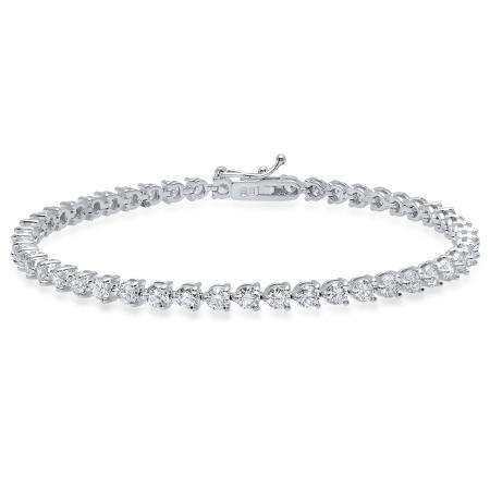 4.16 Carat (Ctw) 18K White Gold Round White Diamond Ladies Tennis Bracelet