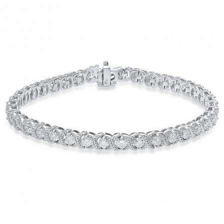 5.00 Carat (Ctw) 14K White Gold Round White Diamond Ladies XO Tennis Bracelet 5 CT