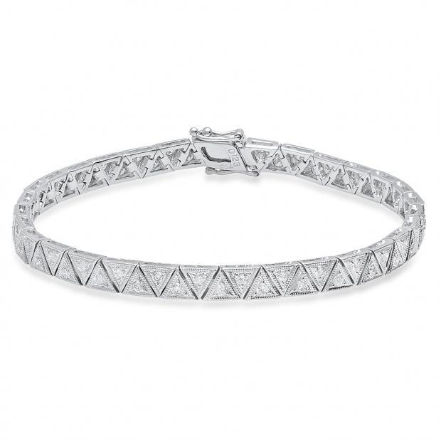 1.23 Carat (Ctw) 18K White Gold Round White Diamond Ladies Tennis Bracelet