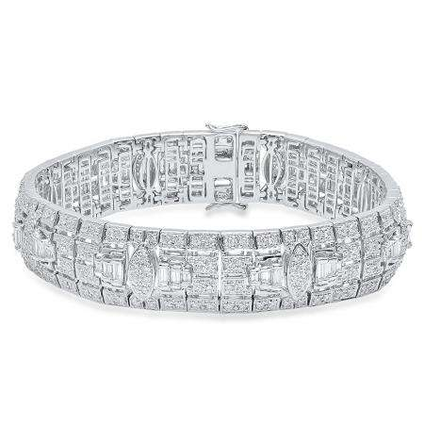 5.83 Carat (Ctw) 14K White Gold Round White Diamond Mens Link Bracelet