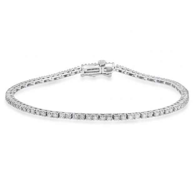 1.00 Carat (Ctw) 14K White Gold Round White Diamond Ladies Tennis Bracelet 1 CT