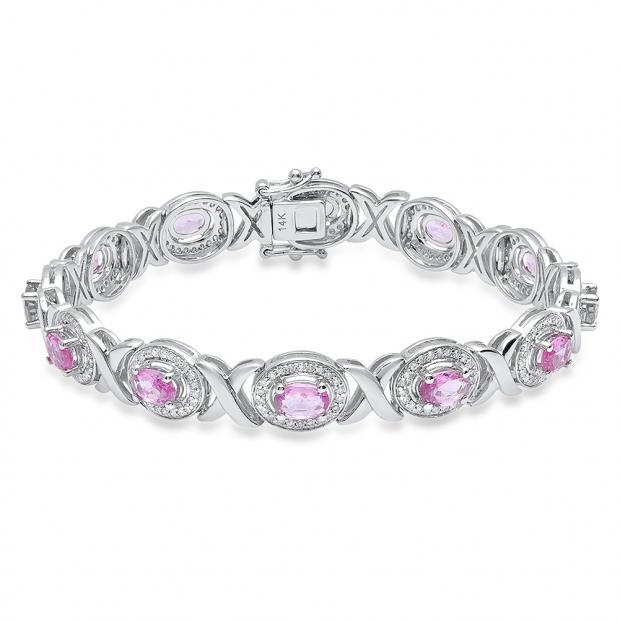 14K White Gold Oval 4X6 MM Pink Sapphire & Round White Diamond Ladies Tennis Bracelet