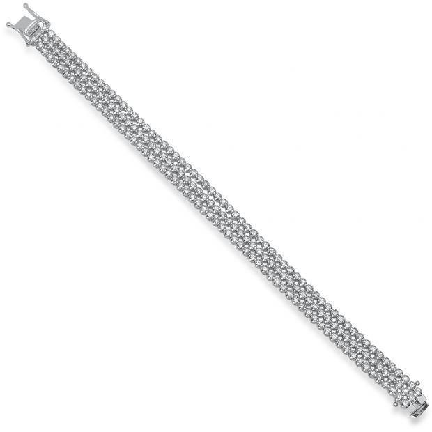 3.50 Carat (Ctw) 14K White Gold Round White Diamond Ladies Three Row Tennis Bracelet 3 1/2 CT