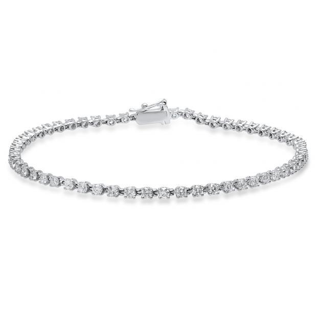 2.00 Carat (Ctw) 14K White Gold Round White Diamond Ladies Tennis Bracelet 2 CT