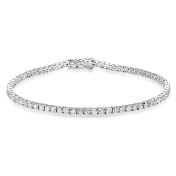 2.50 Carat (Ctw) 14K White Gold Round White Diamond Ladies Tennis Bracelet 2 1/2 CT