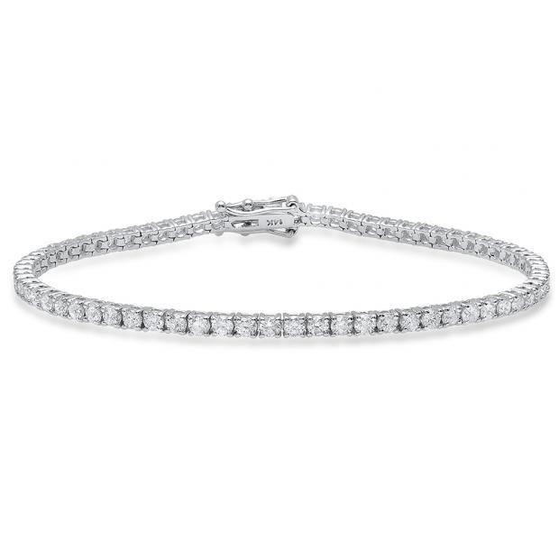 3.00 Carat (Ctw) 14K White Gold Round White Diamond Ladies Tennis Bracelet 3 CT