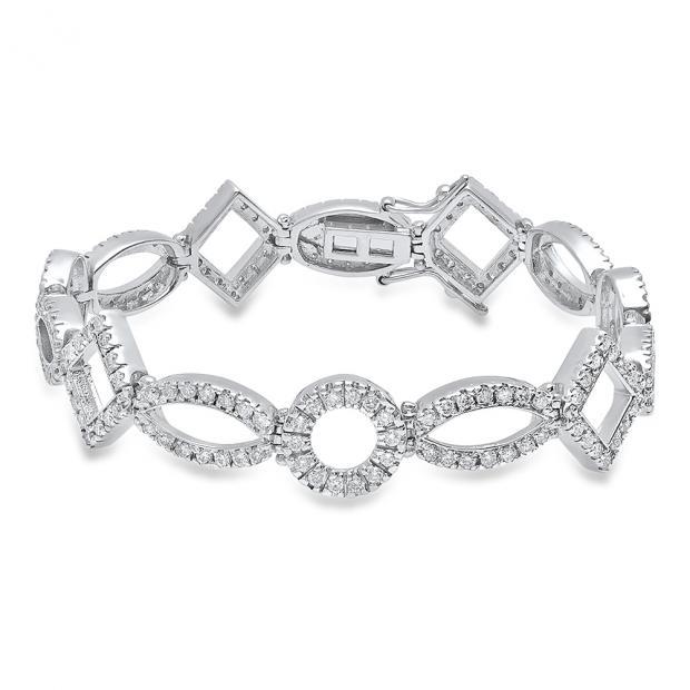 3.50 Carat (ctw) 14K White Gold Round White Diamond Ladies Tennis Bracelet 3 1/2 CT