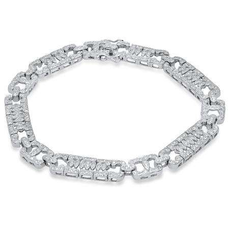 2.55 Carat (ctw) 18K White Gold Round White Diamond Mens Link Bracelet 2 1/2 CT