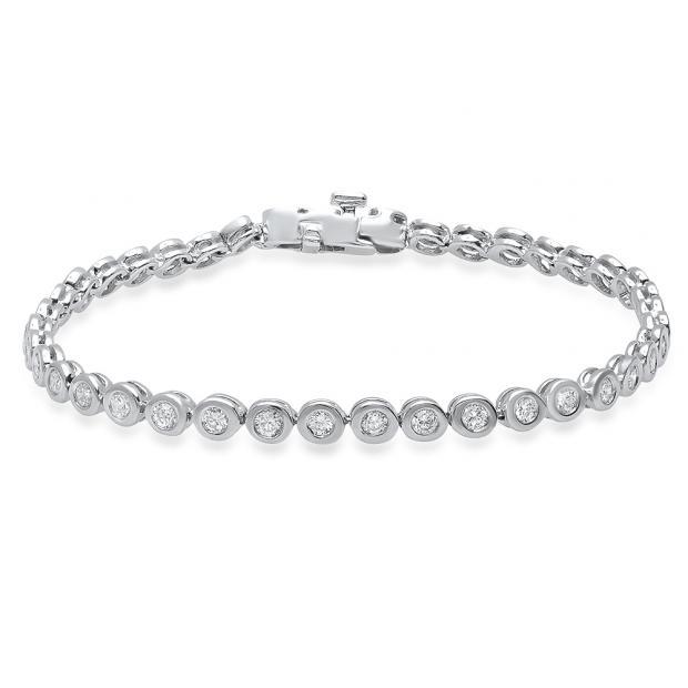 1.65 Carat (Ctw) 14K White Gold Round White Diamond Ladies Tennis Bracelet