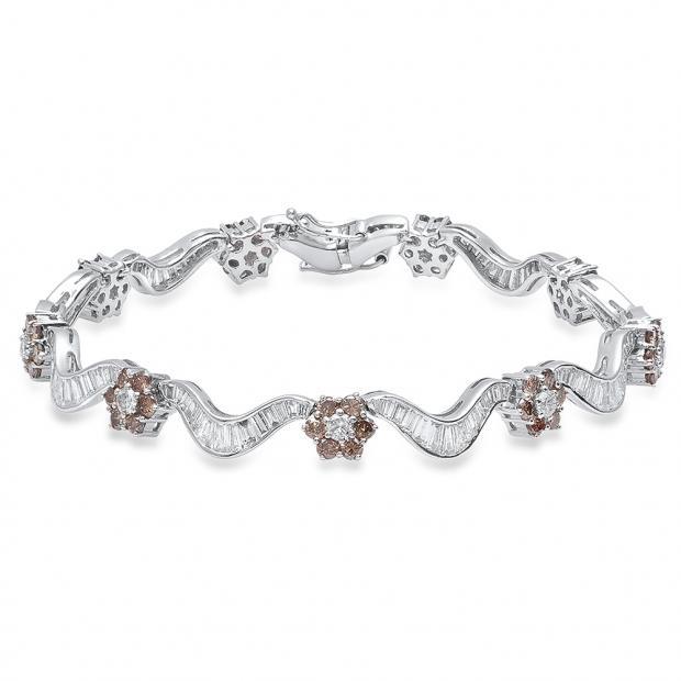 7.61 Carat (ctw) 18K White Gold Round & Baguette White & Champagne Diamond Ladies Tennis Bracelet
