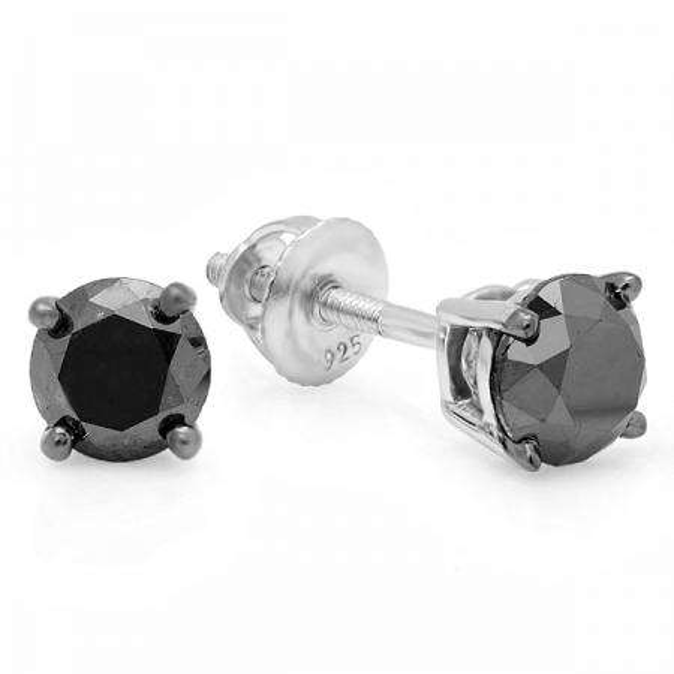 1.00 Carat (ctw) Sterling Silver Round Cut Black Diamond Stud Earrings