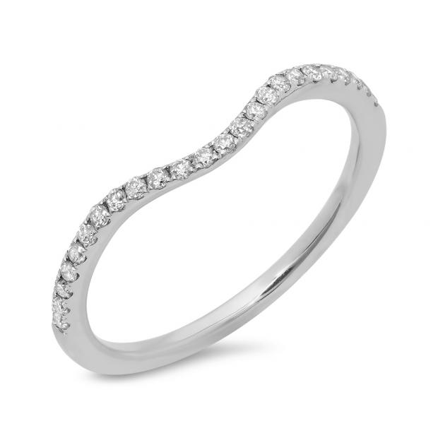 0.19 Carat (ctw) 14K White Gold Round Cut Diamond Ladies Anniversary Wedding Stackable Contour Guard Band