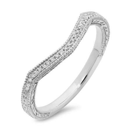 0.08 Carat (ctw) 14K White Gold Round Cut White Diamond Ladies Stackable Anniversary Wedding Band