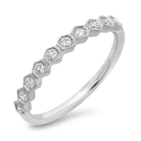 0.23 Carat (ctw) 14K White Gold Round Cut Diamond Ladies Milgrain Stackable Anniversary Wedding Band 1/4 CT