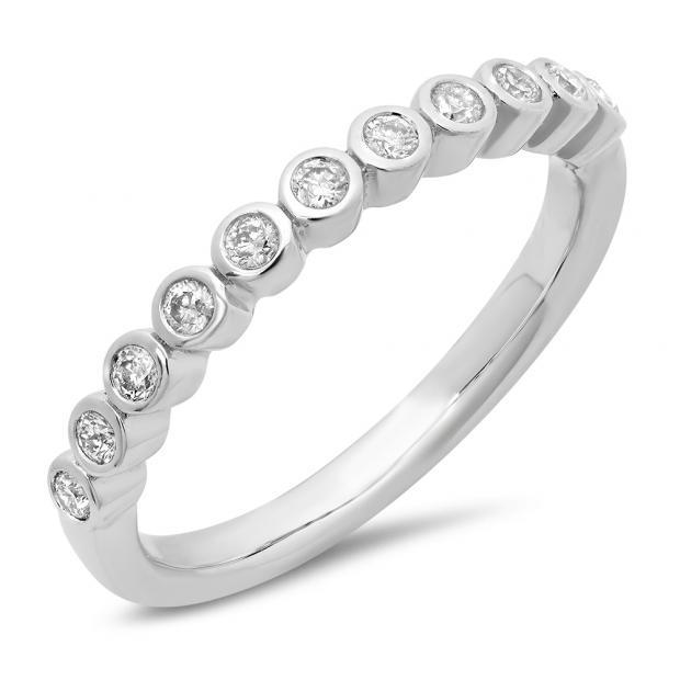 0.24 Carat (ctw) 14K White Gold Round Cut Diamond Ladies Stackable Anniversary Wedding Band 1/4 CT