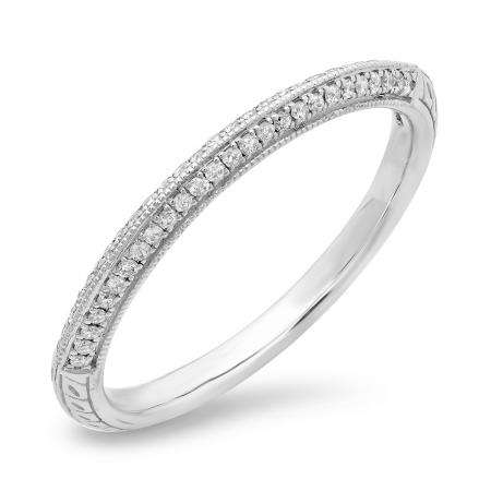 0.16 Carat (ctw) 14K White Gold Round White Diamond Anniversary Wedding Band Stackable Ring